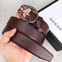 GUCCI New fashion buckle leather couple belt Coffee With Box