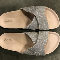 MINOR DEFECTIVE Glitter Slides (White)