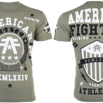 Licensed Official AMERICAN FIGHTER Mens T-Shirt DALTON Athletic MILITARY GREEN Biker Gym UFC $40