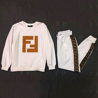 FENDI 2018 autumn and winter long-sleeved jacket + two-piece elastic pants F-AF-MMOH white