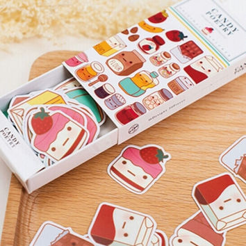 Sweets & Eats Stickers - 50 Piece Box Set, Kawaii Stickers, Food Faces Cake Candy Bakery, Cute Tiny Labels