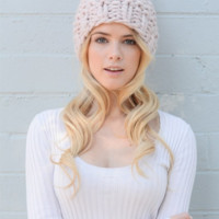 Pink Chunky Knit Beanie