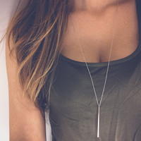 New Fashion Simple Sliver Gold Plated Chain Necklace lariat  Charm Bar Necklaces&Pendants For women gift n107