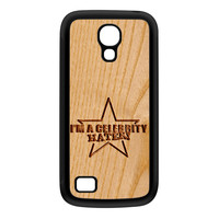 Carved on Wood Effect_Celebrity Hater Black Silicon Rubber Case for Galaxy S4 Mini by Chargrilled
