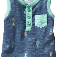 Old Navy Printed Slub Knit Henley Tanks For Baby