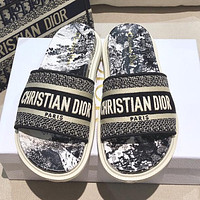 Dior DWAY SLIDE early spring new jacquard embroidery sandals Shoes Black