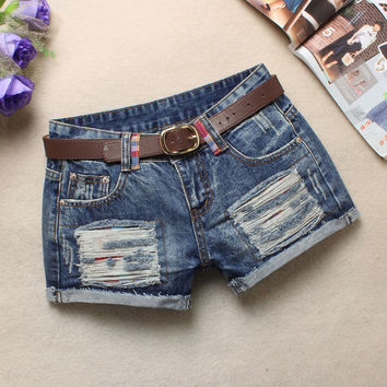 Summer Ladies Slim Low Waist Ripped Holes Shorts Blue Pants Jeans [6050444737]