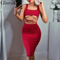Glamaker Hollow out halter sexy women summer dress vestidos Solid slim bodycon club party dress Sleeveless bangdage midi dress