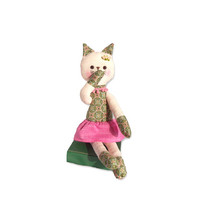 Stuffed Cat green floral pink skirt embroidered face Kitten flower Kitty Doll plush toy holiday gift for children