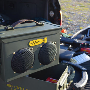 Bomb-proof Ammo can stereo system ,boom box in 50 caliber cans.25 watt amp, available bluetooth and laser engr