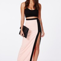 Missguided - Panetta Contrast Maxi Skirt With Thigh High Split