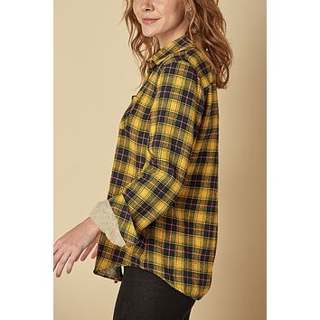 Fleece Lined Button Down Flannel Plaid Shirt Top with Pocket