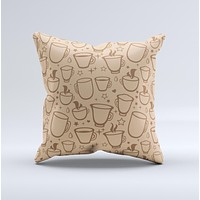 Vintage Vector Coffee Mugs  Ink-Fuzed Decorative Throw Pillow