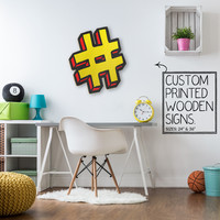 Yellow Hashtag Instagram Twitter Social Media Custom Wood Patch Printed Sign Unique Trendy Game Room