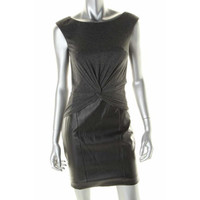 Laundry by Shelli Segal Womens Knot Front Faux Leather Wear to Work Dress