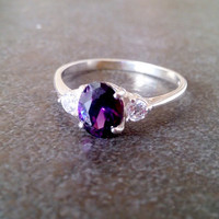 SALE! Three stone ring, Amethyst ring, Sterling Silver Ring, promise ring,hand made ring,Engagement Ring, Wedding band, Bridal jewelry