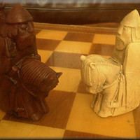 Medieval Isle of Lewis Chess Set - contrasting sides - Two Extra Queens - Walnut and Mellow Ivory
