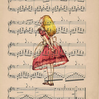 Oh Dear Alice in Pink Vintage Illustrated Print on an Antique Upcycled Bookpage