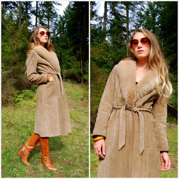 Foxy 1970s Long Leather Coat with Fur, Sherpa Shearling Sheepskin Collar, Tan Brown Suede Jacket, Boho Hippie Wrap Coat Trench, Small Medium