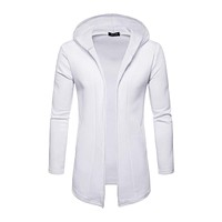 Men Cotton Solid Color Long Sleeves Hooded Long Outerwear