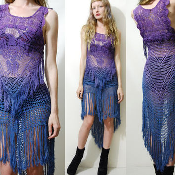 CROCHET Dress FRINGE Eagle Ombre Vintage Cotton Lace Dip Dye Purple Navy Gypsy Grunge Bohemian Hippie Long Fishtail Scallop Handmade xs s