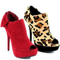 Bow Peep Toe Bootie (6, Red)