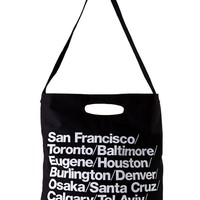 Indie Designs Bull Denim Woven Cotton Cities Tote Bag