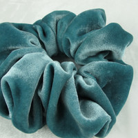 Free shipping silk hair scrunchie. Hypoallergenic hair accessories. Teal silk velvet hair scrunchie. Peacock blue velvet scrunchie.