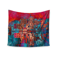 "Suzanne Carter ""Marbled Skyline"" Red Blue Wall Tapestry"