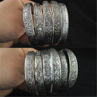 New Fashion Women Vintage Style Tibetan Silver Metal Carving Cuff Bracelets& Bangles Adjustable Size Jewlery XY3002