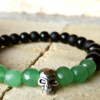 FREE SHIPPING-Men Bracelet, Green and Black Matte Onyx, Siver Plated Skull, Happiness, Bling, Healing, Mala, Yoga Jewelry