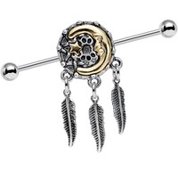 14 Gauge Moon Star Dreamcatcher Feather Dangle Industrial Barbell 38mm