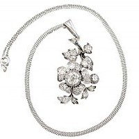 3.20ct Diamond and Silver Set Pendant - Antique Victorian