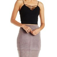 Black Strappy Caged Crop Top by Charlotte Russe