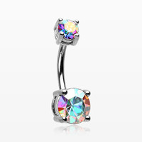Aurora Sparkle Prong Set Belly Button Ring