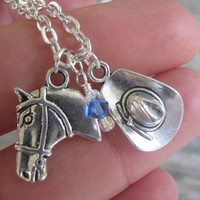 Country Western Necklace, Cowboy Hat Necklace, Horse Necklace, Personalized Cowgirl Jewelry, Barrel Racing, Rodeo, Pick Your Length
