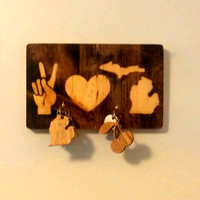 PEACE LOVE MICHIGAN Keys, keychain rack/reclaimed/rustic wall decor (Custom in your state!)