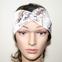 White Camo Jersey Turban Headband, Wide Stretchy Women's Head Wrap, Girly Hair Accessories, Twisted Fabric Hair Wrap