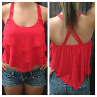 In Style Red Crop Tier Top with Cross Strap Back