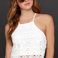 Petals on the Wind Ivory Lace Crop Top