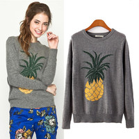 Pineapple Embroidery Long Sleeve Sweater