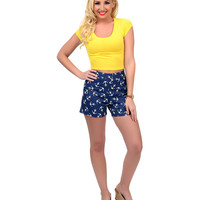 Navy Blue & White Nautical Print High Waisted Anchorine Shorts