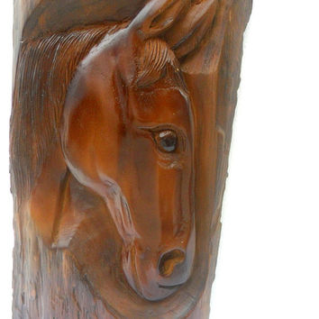 """Wood Carving Horse Head Natural Teak Wood Hand Carved Horse Head Rustic Driftwood Reclaimed Wall Hanging Home Art Decor / Gift 14.75""""X7.5"""""""