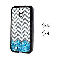 Blue Glitter Chevron Samsung Galaxy S5 and Galaxy S4 Case