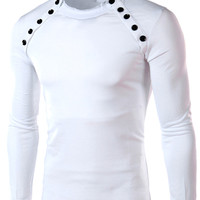 Round Neck Button Detail Long Sleeve Tee