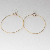 Hammered Brass, Copper, And Silver Earrings- 2.5 inches