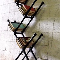 Chicago Modern Industrial Display Bookcase In Black Steel Combo