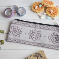 Purple pencil case, Pencil Pouch, Cosmetic pouch, Make Up Pouch, Charger bag, Project bag, Travel bag, Bridesmaid gift, Bridal purse