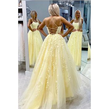 Bright Yellow Lace Prom Dress Lace Up Back, Prom Dresses Long, Evening Dress, Ball Gown, Pageant Dress, School Party Dress, CD0066