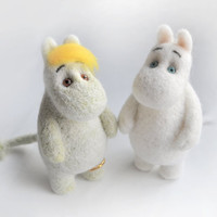 Moomin troll and his best friend Snork maiden - Very cute pair of fairy handcrafted dolls were created in needle felting technique..